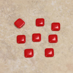 Glass Low Dome Cabochon Opaque - Square Antique 06x6MM CHERRY RED