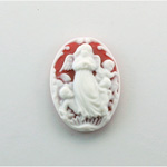 Plastic Cameo - Angel Oval 25x18MM WHITE ON RUBY