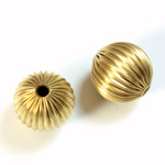 Brass Corrugated Bead - Round 14MM RAW