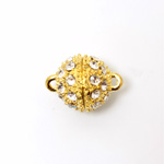 Magnetic Rhinestone Clasp - Round 14MM CRYSTAL SATIN GOLD