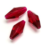 Plastic Bead -  Faceted Elongated Bicone 25x12MM ORIENTAL RUBY