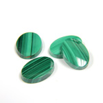Gemstone Flat Back Single Bevel Buff Top Stone - Oval 14x10MM MALACHITE