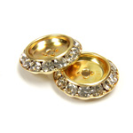 Czech Rhinestone Rondelle Shrag Flat Back Setting - Round 20MM outside w 13mm Recess CRYSTAL-GOLD