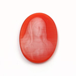 Synthetic Cameo Madonna Oval 30x22MM 2-TONE CatsEYE ORANGE