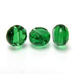 Chinese Cut Crystal Bead - Round Disc Side Drilled 08MM DARK EMERALD