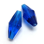 Plastic Bead -  Faceted Elongated Bicone 30x14MM SAPPHIRE