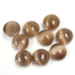 Fiber-Optic Cabochon - Round 09MM CAT'S EYE BROWN
