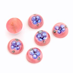 Glass Medium Dome Lampwork Cabochon - Round 10MM BLUE ON DARK ROSE (04878)