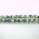 Czech Glass Fire Polish Bead - Oval 06x4MM LUMI COATED GREEN