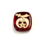 Glass Flat Back Intaglio Shriner Cushion Antique 16x14MM GOLD ON RUBY Foiled