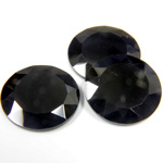 Gemstone Flat Back Stone with Faceted Top and Table - Round 18MM BLACK ONYX