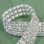 Rhinestone Banding with MC Chaton 3 Row - Round 19SS CRYSTAL-WHITE-SILVER