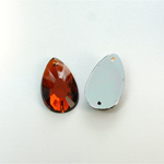 Plastic Flat Back 2-Hole Foiled Sew-On Stone - Pear 22x11MM SMOKE TOPAZ
