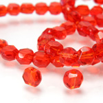 Chinese Cut Crystal Bead - Round Disc Side Drilled 04MM LIGHT SIAM RUBY