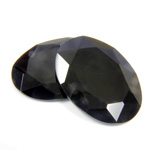 Gemstone Flat Back Stone with Faceted Top and Table - Oval 25x18MM BLACK ONYX