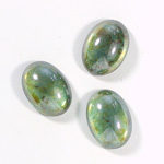 Glass Medium Dome Coated Cabochon - Oval 18x13MM LUSTER GREEN