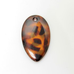Plastic Pendant - Mixed Color Smooth Pear 41x24MM TOKYO TORTOISE