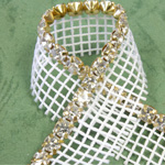 Rhinestone Banding with MC Chaton 1 Row with Net One Edge - Round 19SS CRYSTAL-WHITE-GOLD