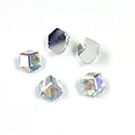 Glass Flat Back 3/4 Cube Hexagon 06MM CRYSTAL AB Foiled