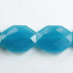 Gemstone Bead - Faceted Octagon 25x20MM Dyed QUARTZ Col. 30 AQUA