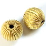 Brass Corrugated Bead - Fancy Dimpled Round 20MM RAW