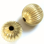Brass Corrugated Bead - Round 20MM RAW