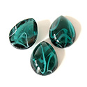 Glass Medium Dome Lampwork Cabochon - Pear 18x13MM FLAWED EMERALD