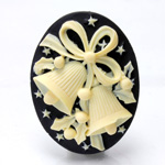 Plastic Cameo - Christmas Bells Oval 40x30MM IVORY ON BLACK