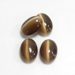 Fiber-Optic Cabochon - Oval 14x10MM CAT'S EYE BROWN