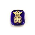 Glass Flat Back Intaglio Air Force Cushion Antique 16x14MM GOLD ON SAPPHIRE Foiled