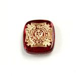 Glass Flat Back Intaglio VeteranS Cushion Antique 16x14MM GOLD ON RUBY Foiled