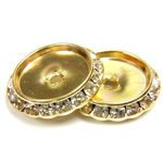Czech Rhinestone Rondelle Shrag Flat Back Setting - Round 25MM outside w 18mm Recess CRYSTAL-GOLD