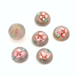 Glass Medium Dome Lampwork Cabochon - Round 10MM PINK ON GREY (00598)