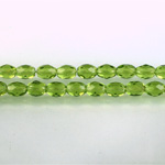 Czech Glass Fire Polish Bead - Oval 06x4MM OLIVINE