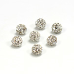 Rhinestone Bead Pave with 1.0MM Hole Metal Base Round 06MM CRYSTAL
