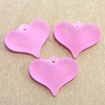 German Plastic Pendant - Heartshape 18x15MM MATTE ROSE