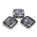 Czech Pressed Glass Bead - Smooth Flat Square 18x18MM PATTERN on LT PURPLE