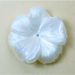 German Plastic Flower with Center Hole - Round 33MM PEARL SILK WHITE