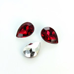 Plastic Point Back Foiled Stone - Pear 14x10MM RUBY