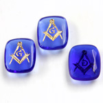Glass Flat Back Intaglio Masonic - Cushion Antique 12x10MM GOLD ON SAPPHIRE Unfoiled