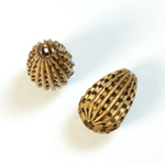 Brass Corrugated Bead - Fancy Pierced Pear 16x11MM RAW