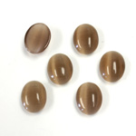 Fiber-Optic Cabochon - Oval 10x8MM CAT'S EYE BROWN