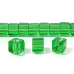 Glass Bead Table Polished - Cube 06x6MM PERIDOT