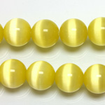 Fiber-Optic Synthetic Bead - Cat's Eye Smooth Round 12MM CAT'S EYE YELLOW