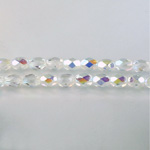 Czech Glass Fire Polish Bead - Oval 06x4MM CRYSTAL AB