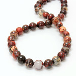 Gemstone Bead - Smooth Round 10MM BRECIATED JASPER