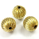 Brass Corrugated Bead - Round 15MM RAW
