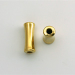 Metalized Plastic Bead - Hourglass Tube 16x7MM GOLD