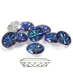 Glass Flat Back Pinwheel Round 09MM CRYSTAL HELIO BLUE