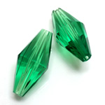 Plastic Bead -  Faceted Elongated Bicone 30x14MM EMERALD